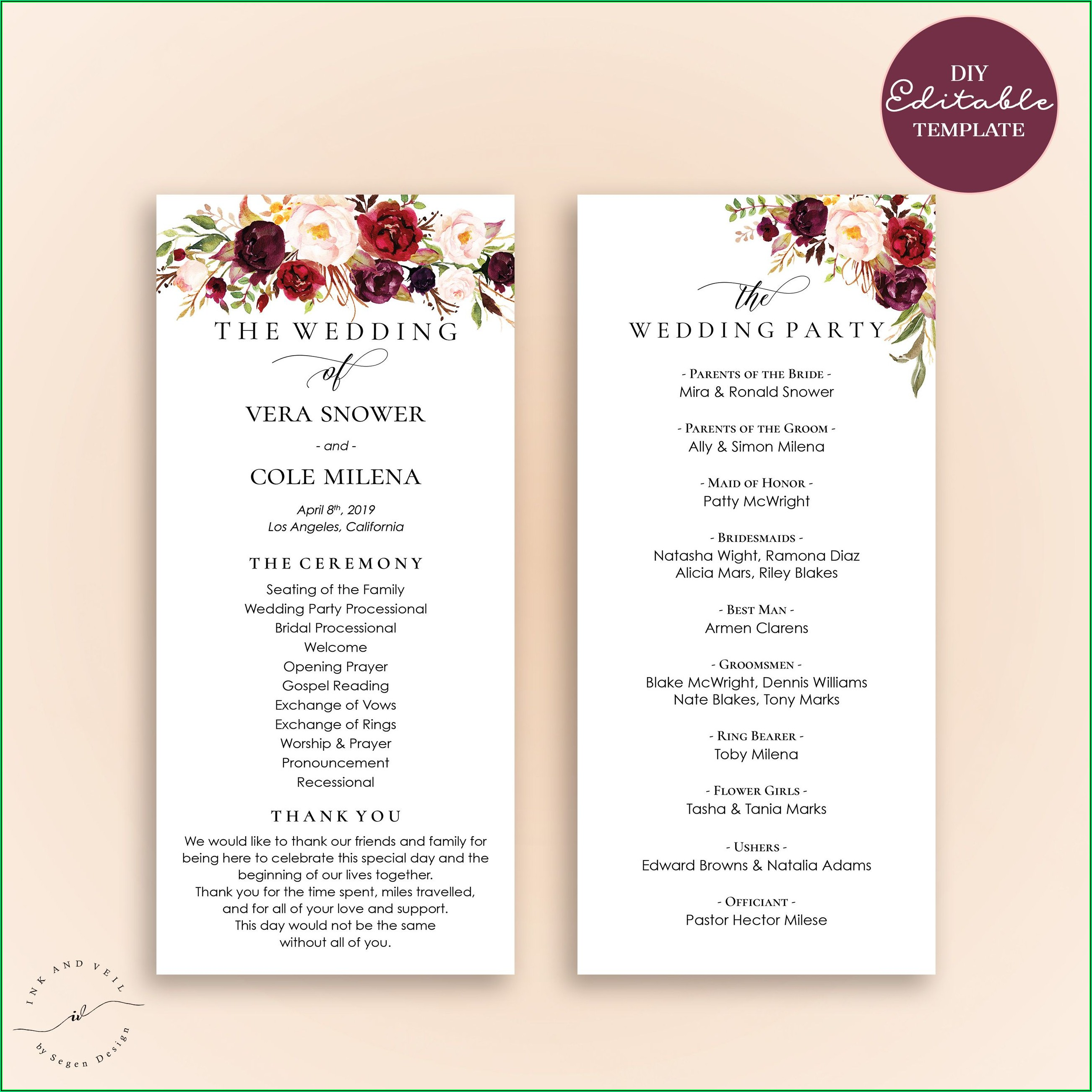 Sample Tri Fold Wedding Program Templates