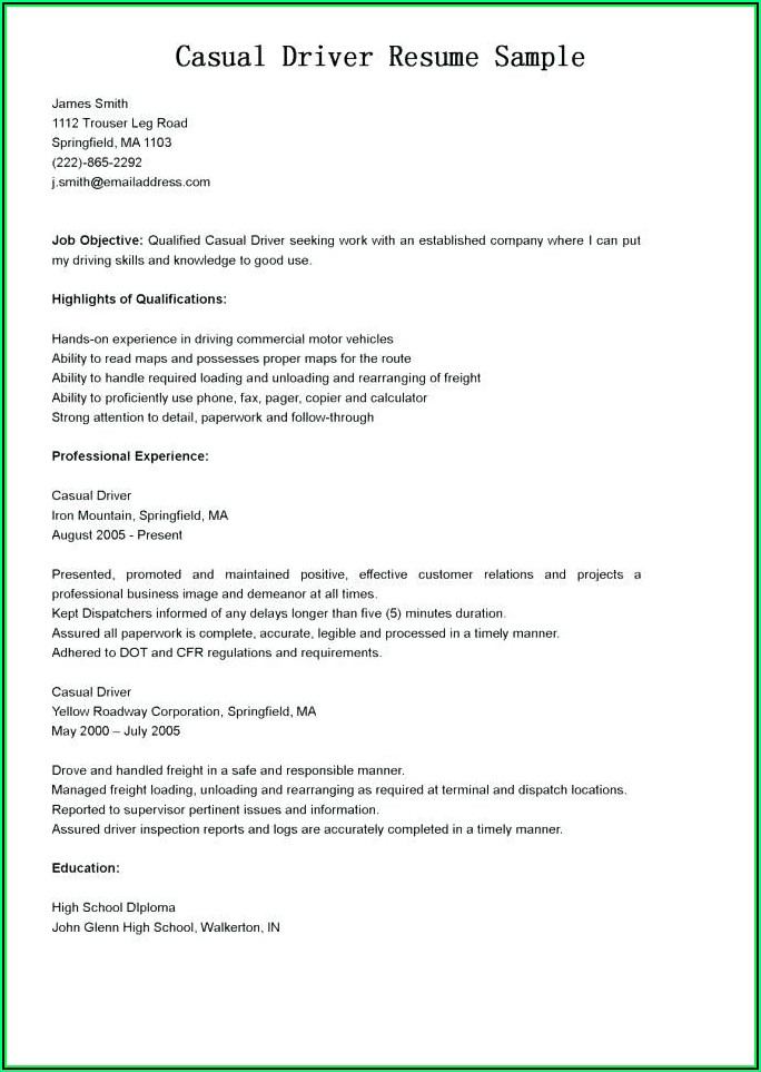 Sample Truck Driver Resume Templates