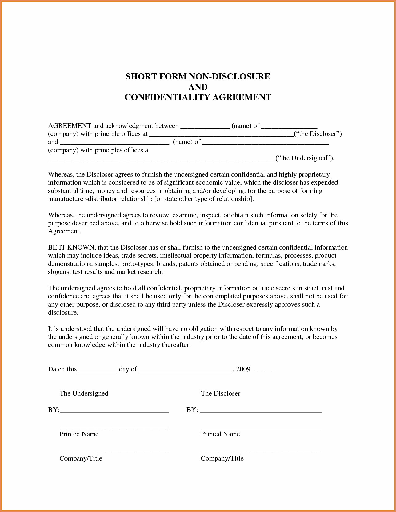 Short Form Non Disclosure Agreement