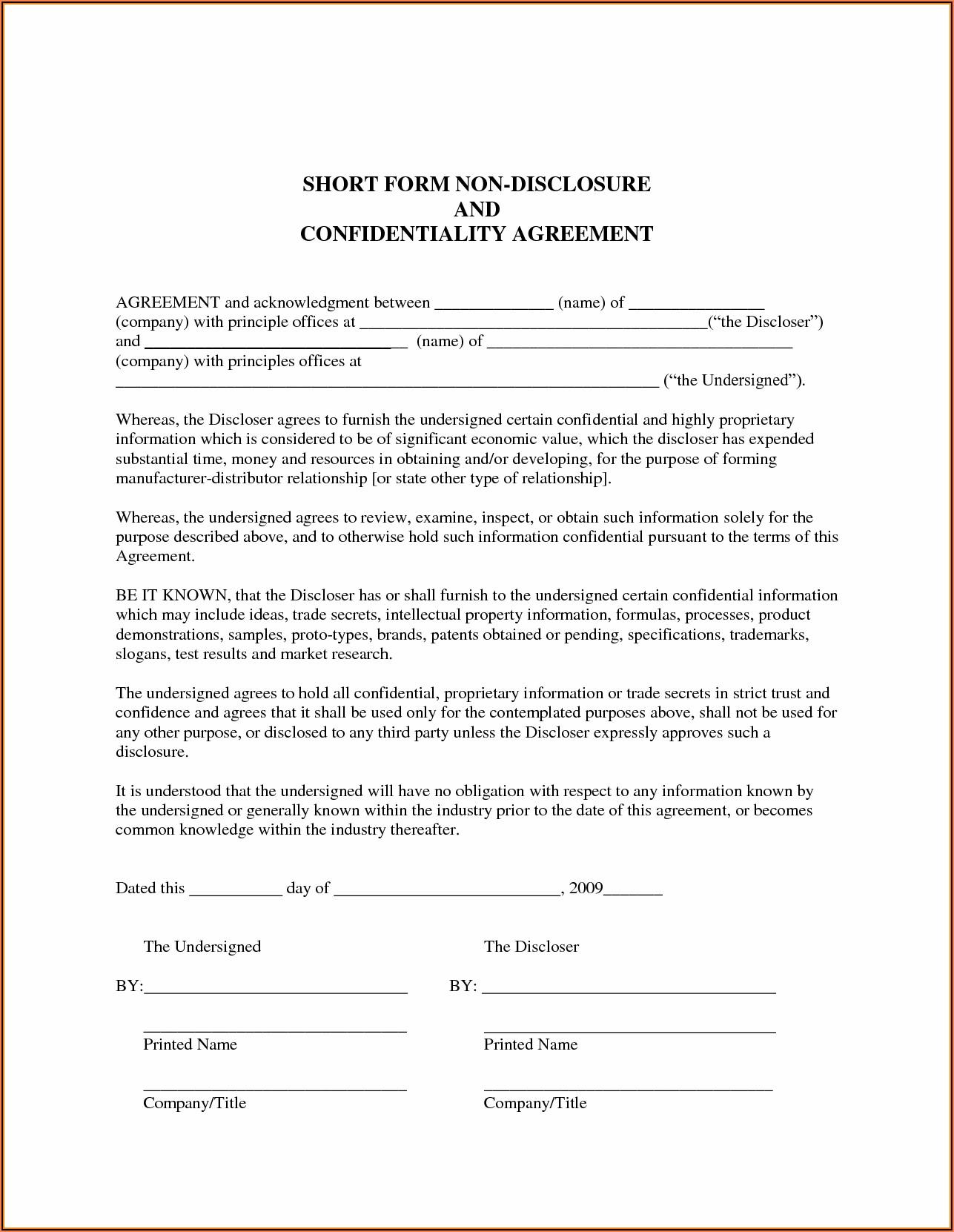 Short Form Non Disclosure Agreement