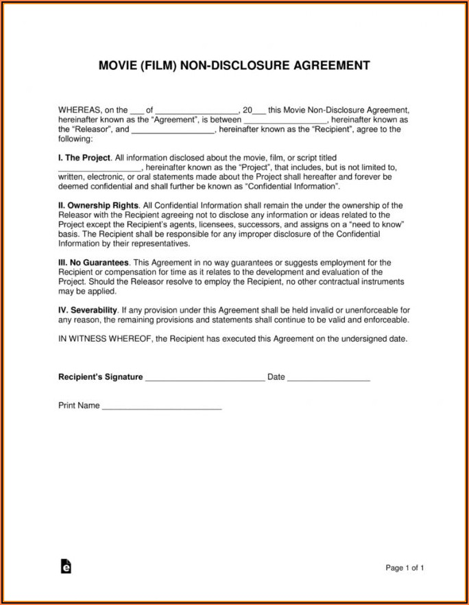 Short Form Non Disclosure And Confidentiality Agreement