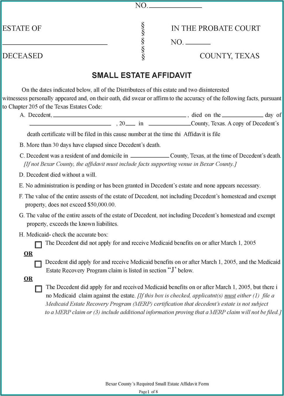 Small Estate Affidavit Form Bexar County Texas