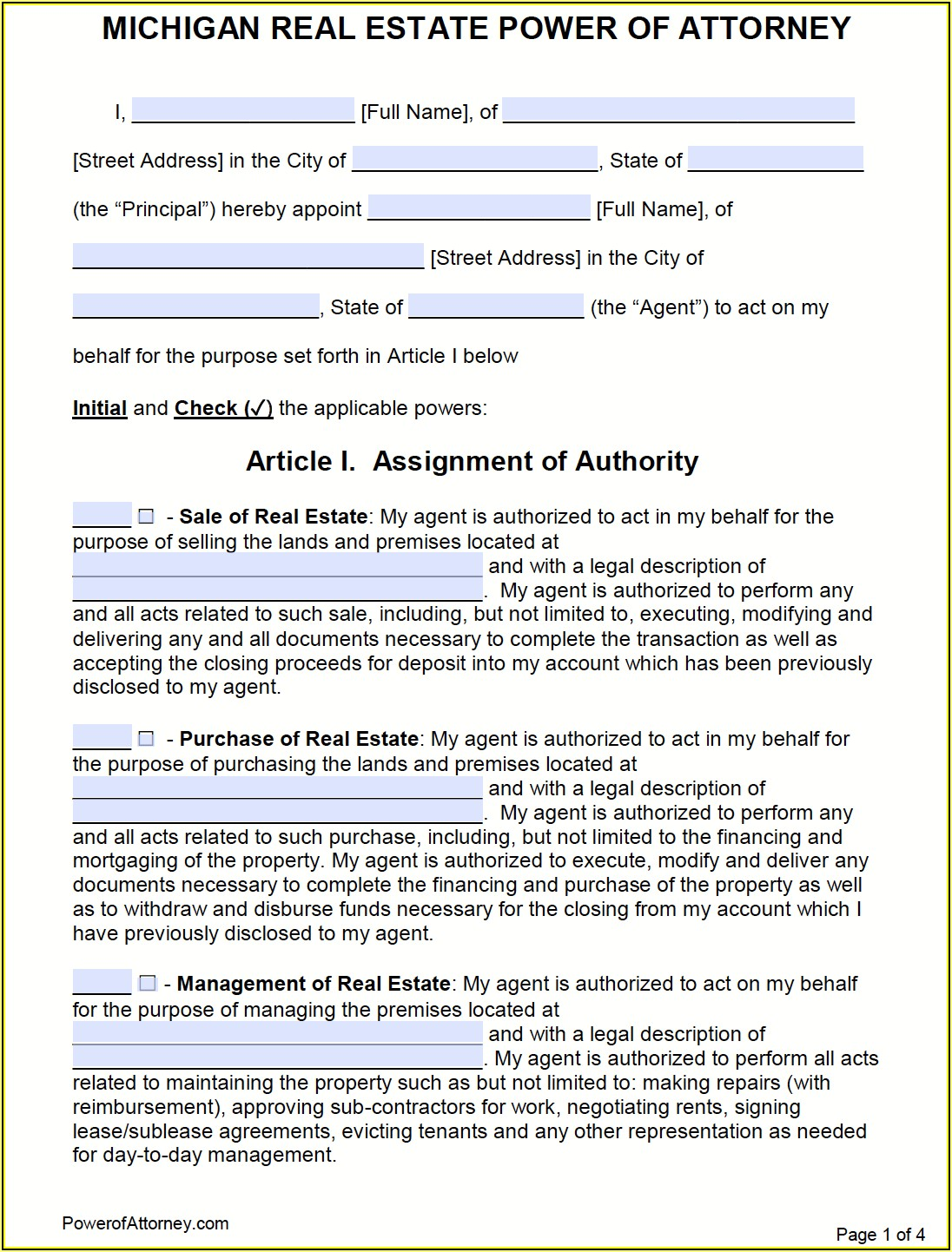 State Bar Of Michigan Durable Power Of Attorney Form