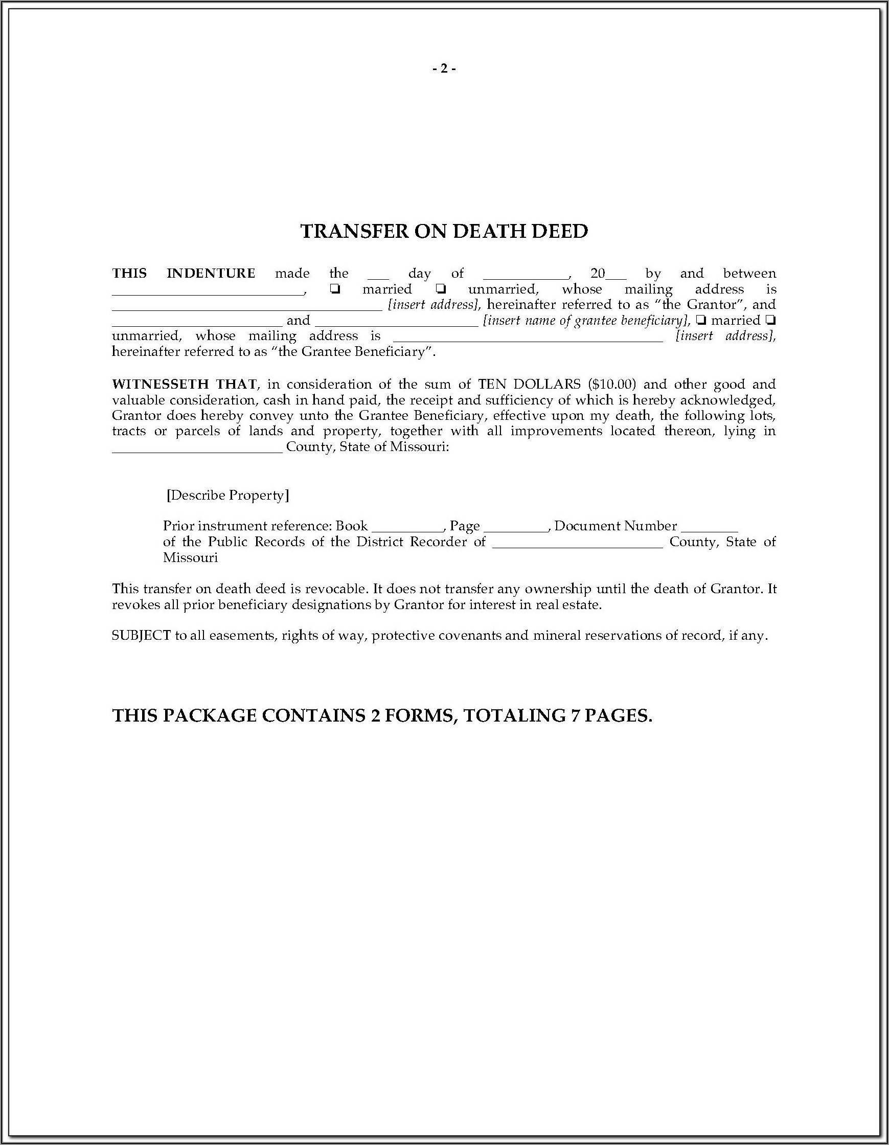 State Of Arizona Beneficiary Deed Form