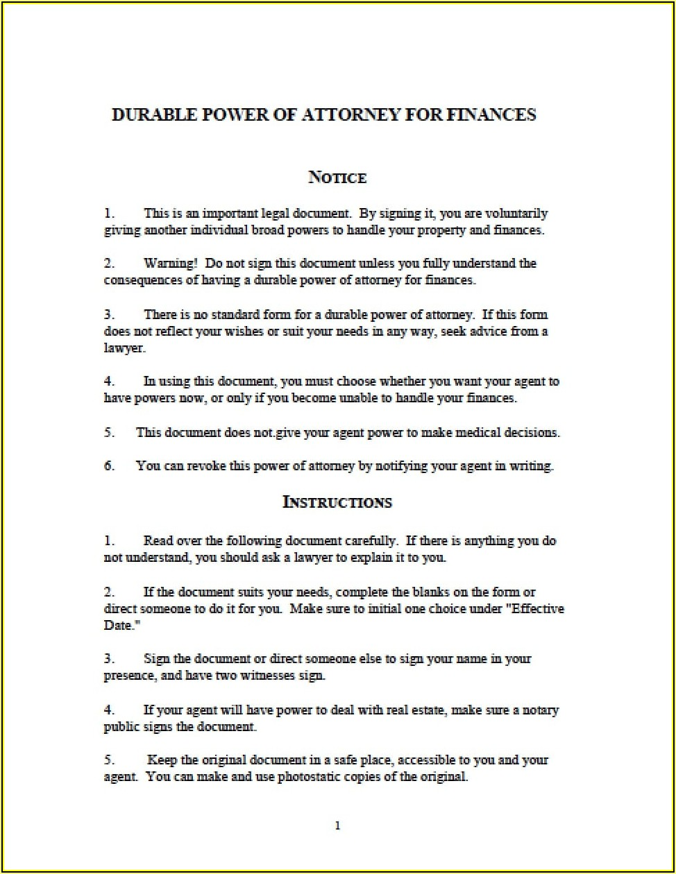 State Of Michigan Durable Power Of Attorney Form