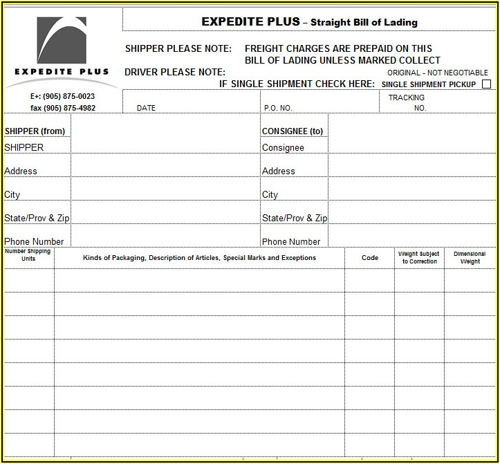 Straight Bill Of Lading Short Form Template Excel