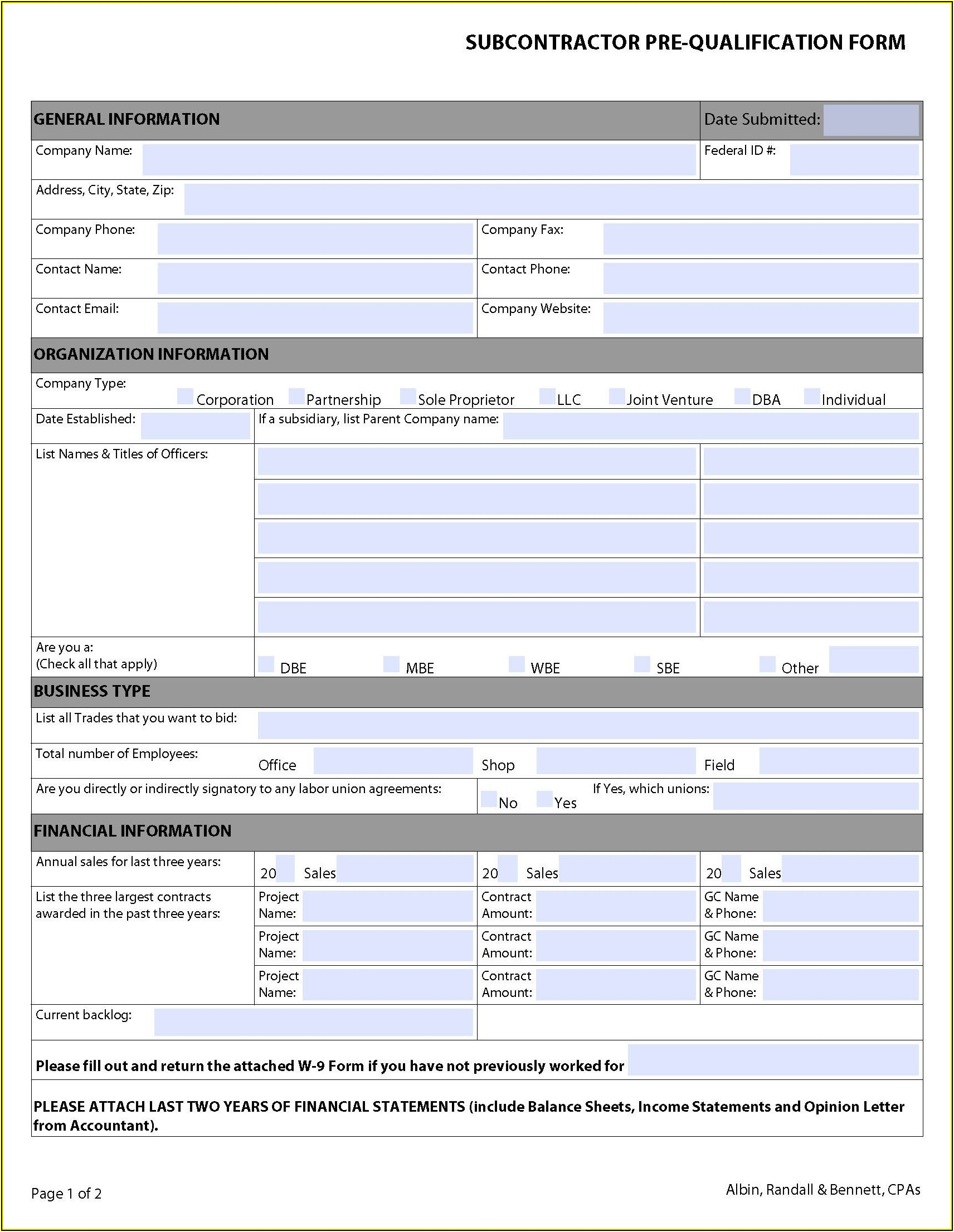 Subcontractor Prequalification Form Template Australia