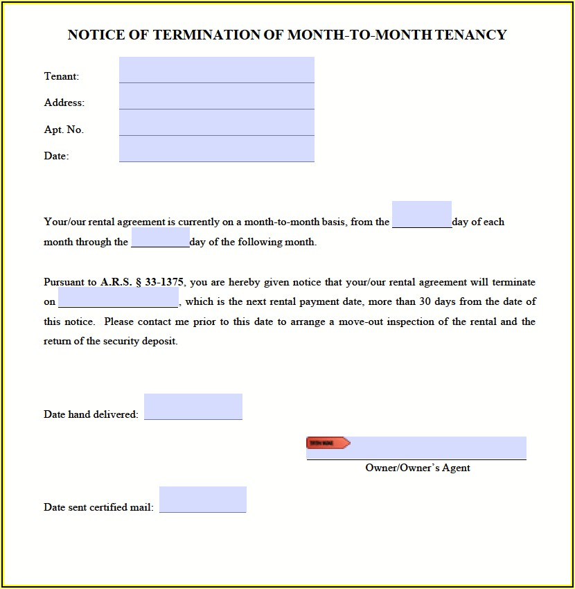 Tenant 30 Day Notice To Vacate Form Arizona