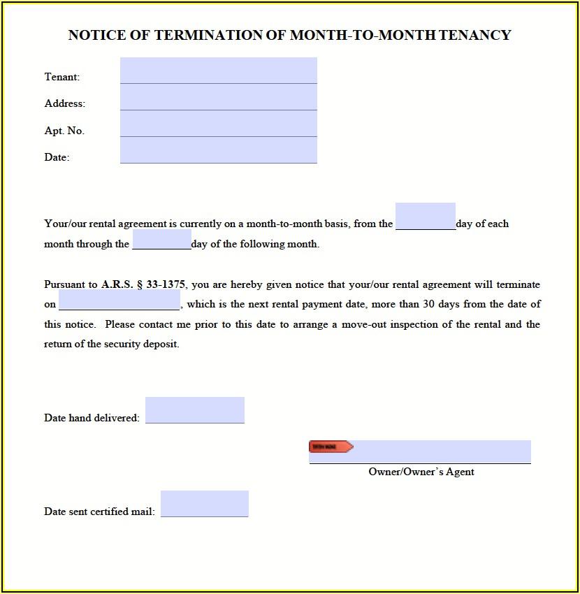 Tenant 30 Day Notice To Vacate Form Arizona