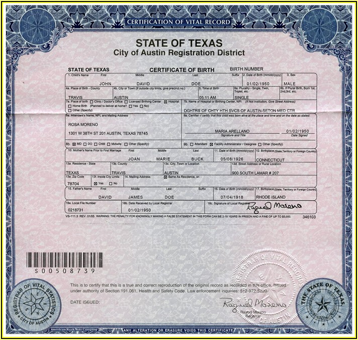 Texas Birth Certificate Long Form Vs. Short Form