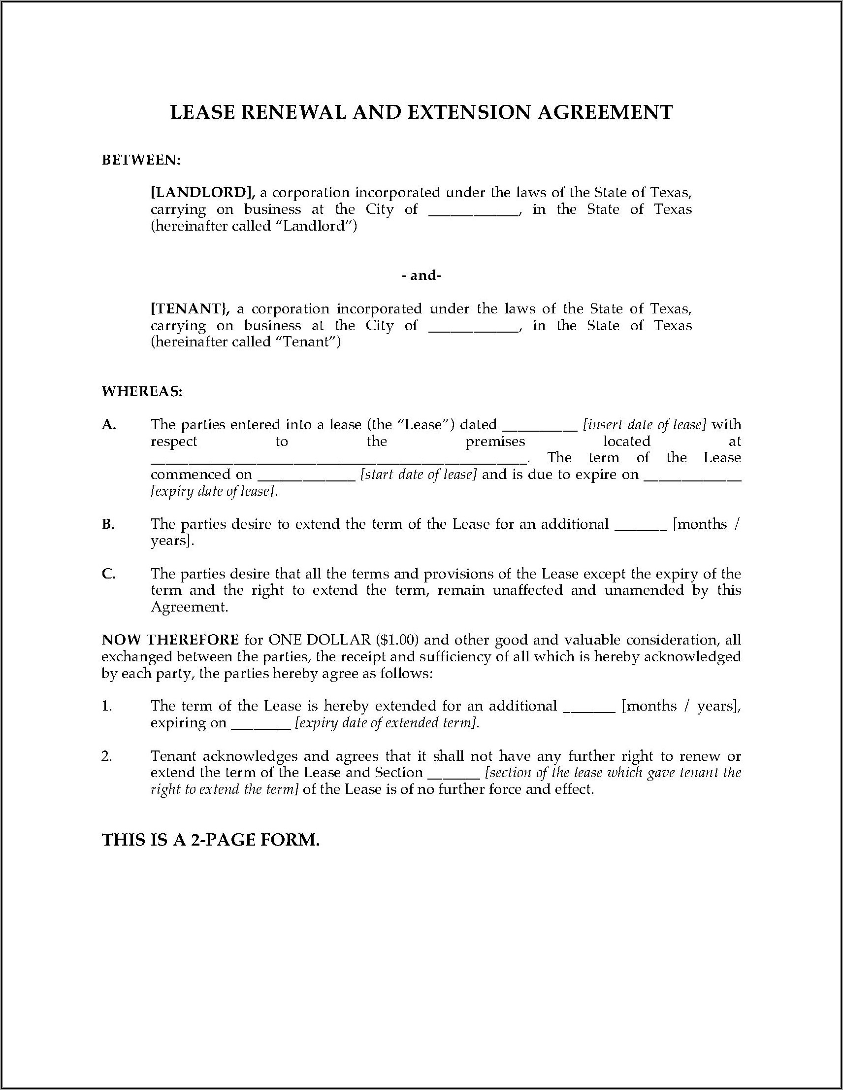 Texas Commercial Lease Extension Form