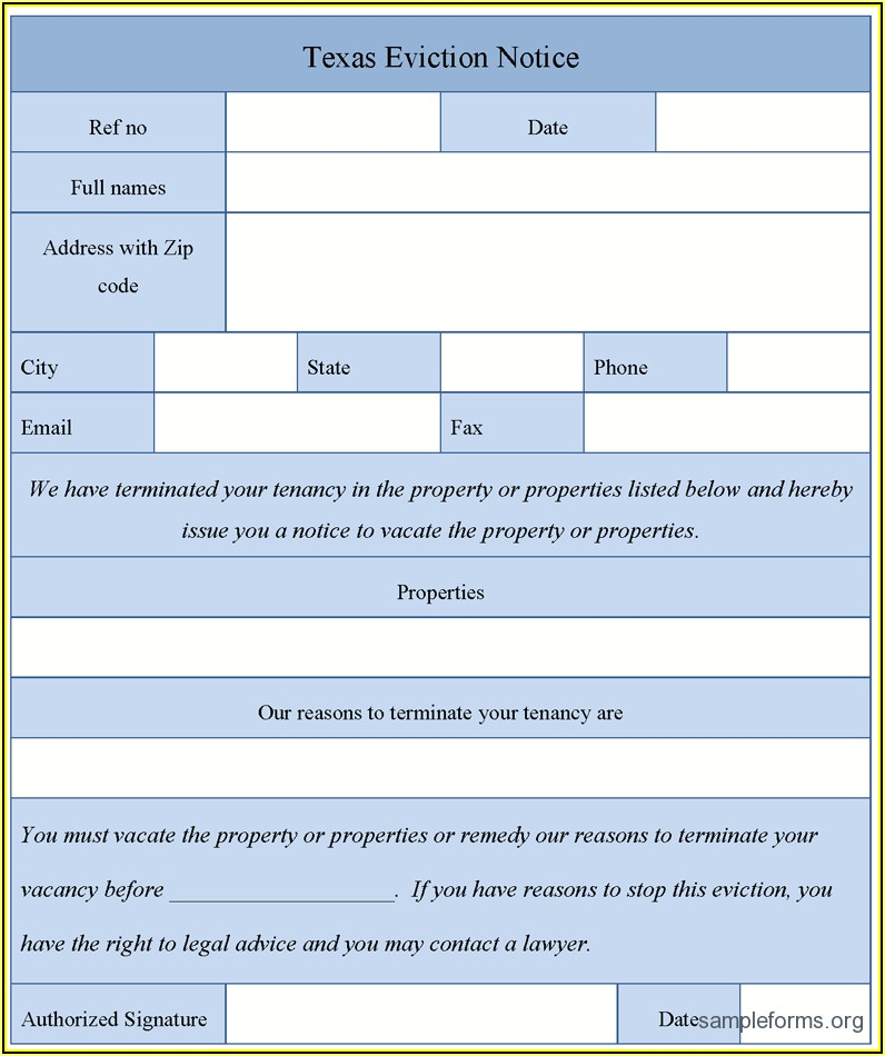Texas Eviction Notice Form Sample