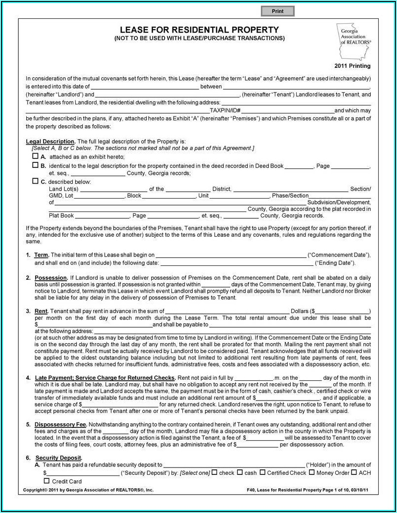Texas Lease Agreement Form Pdf