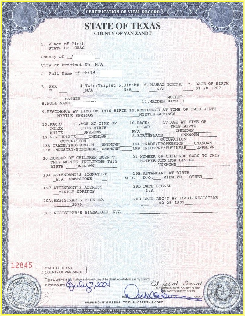 Texas Long Form Birth Certificate Passport