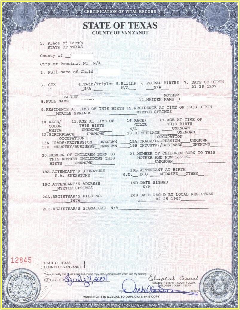 Texas Long Form Birth Certificate Passport