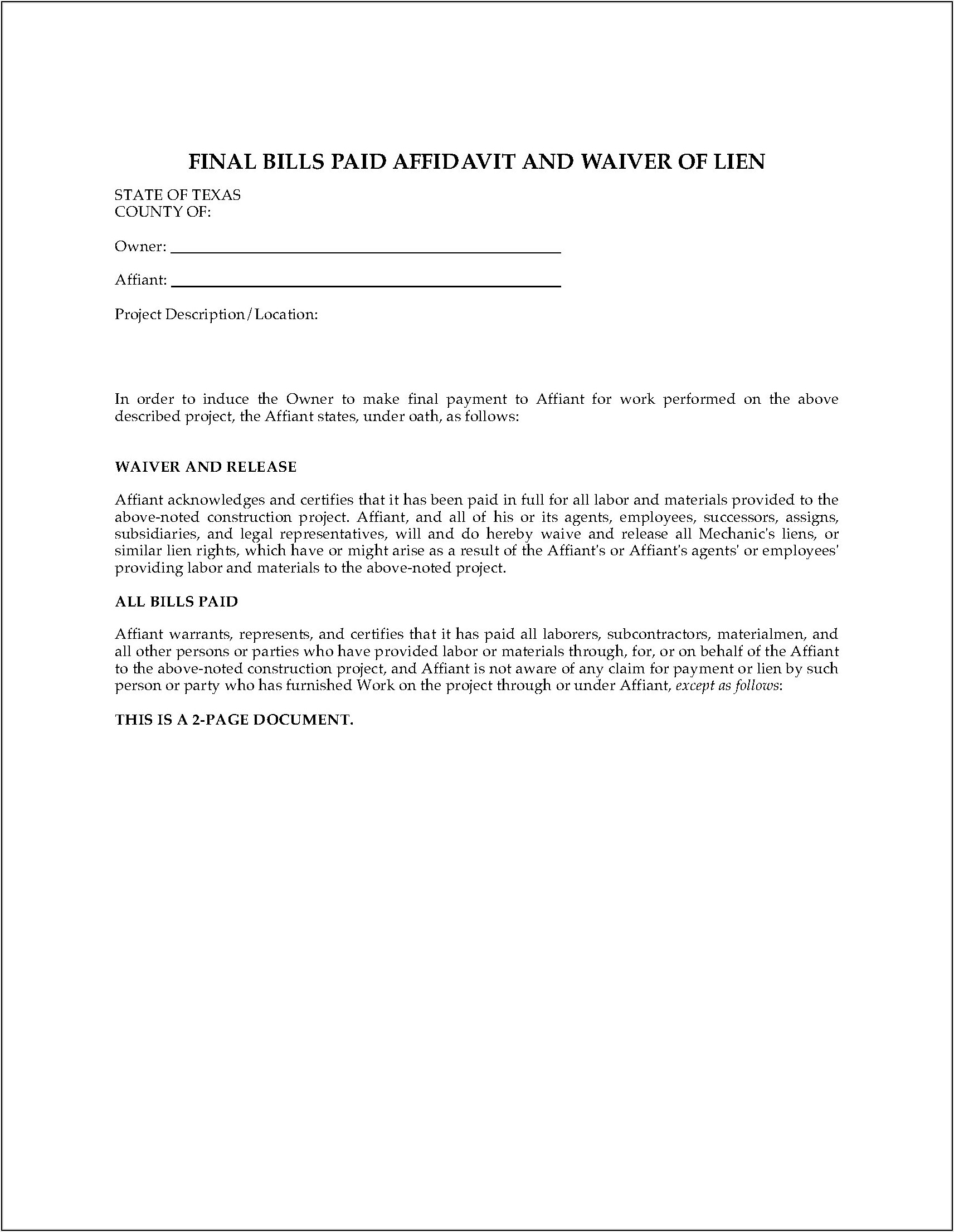 Texas Property Code Statutory Lien Waiver Forms
