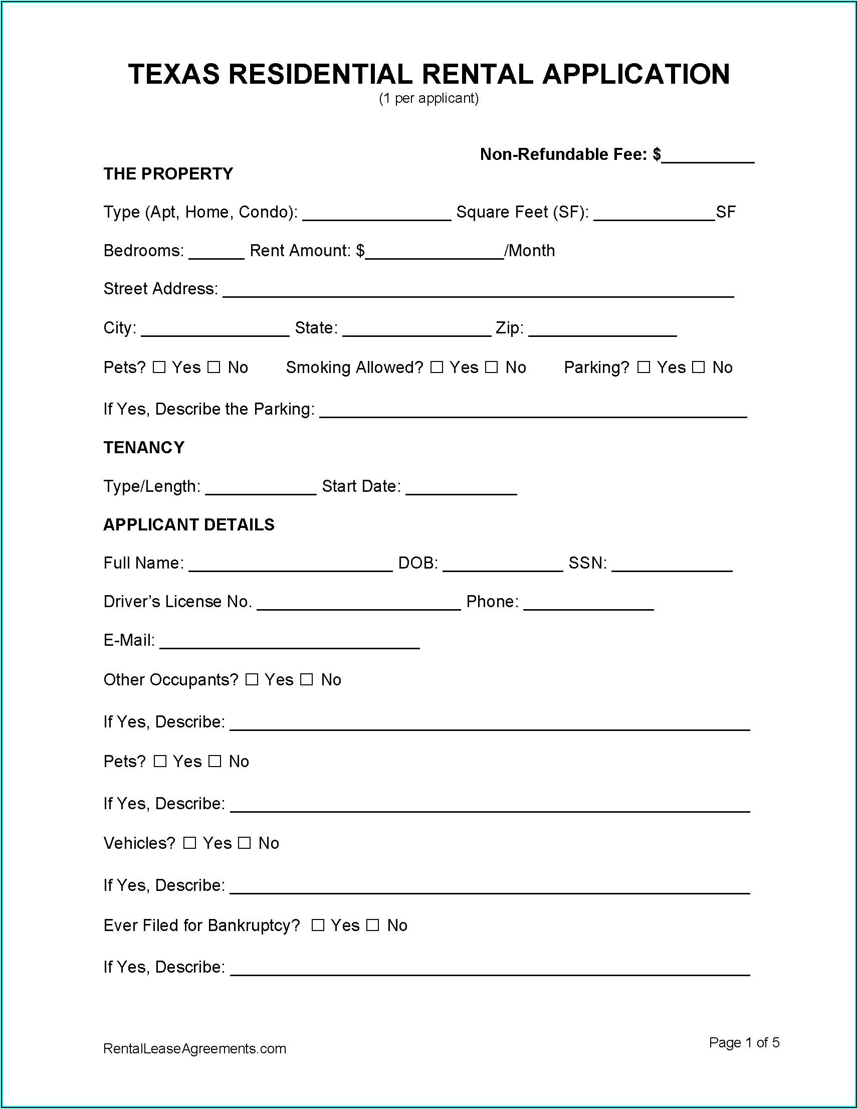 Texas Rental Application Form Pdf