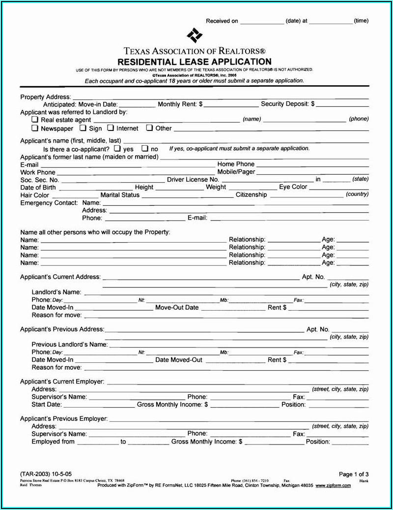Texas Rental Application Form