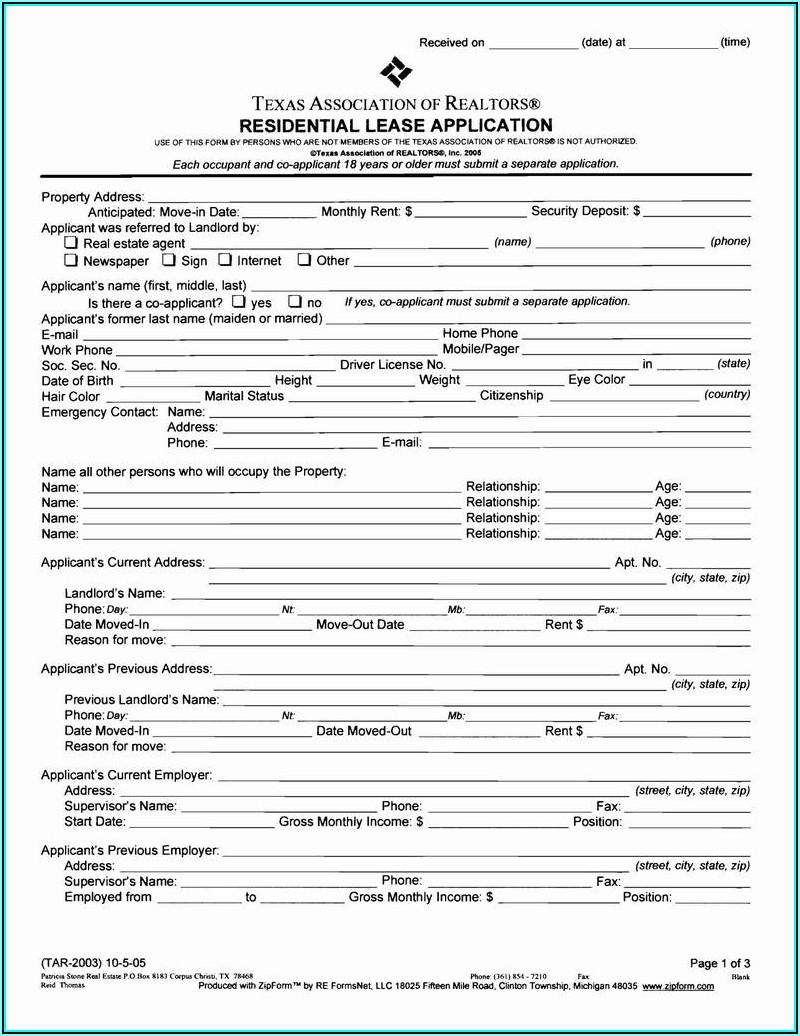 Texas Rental Application Form