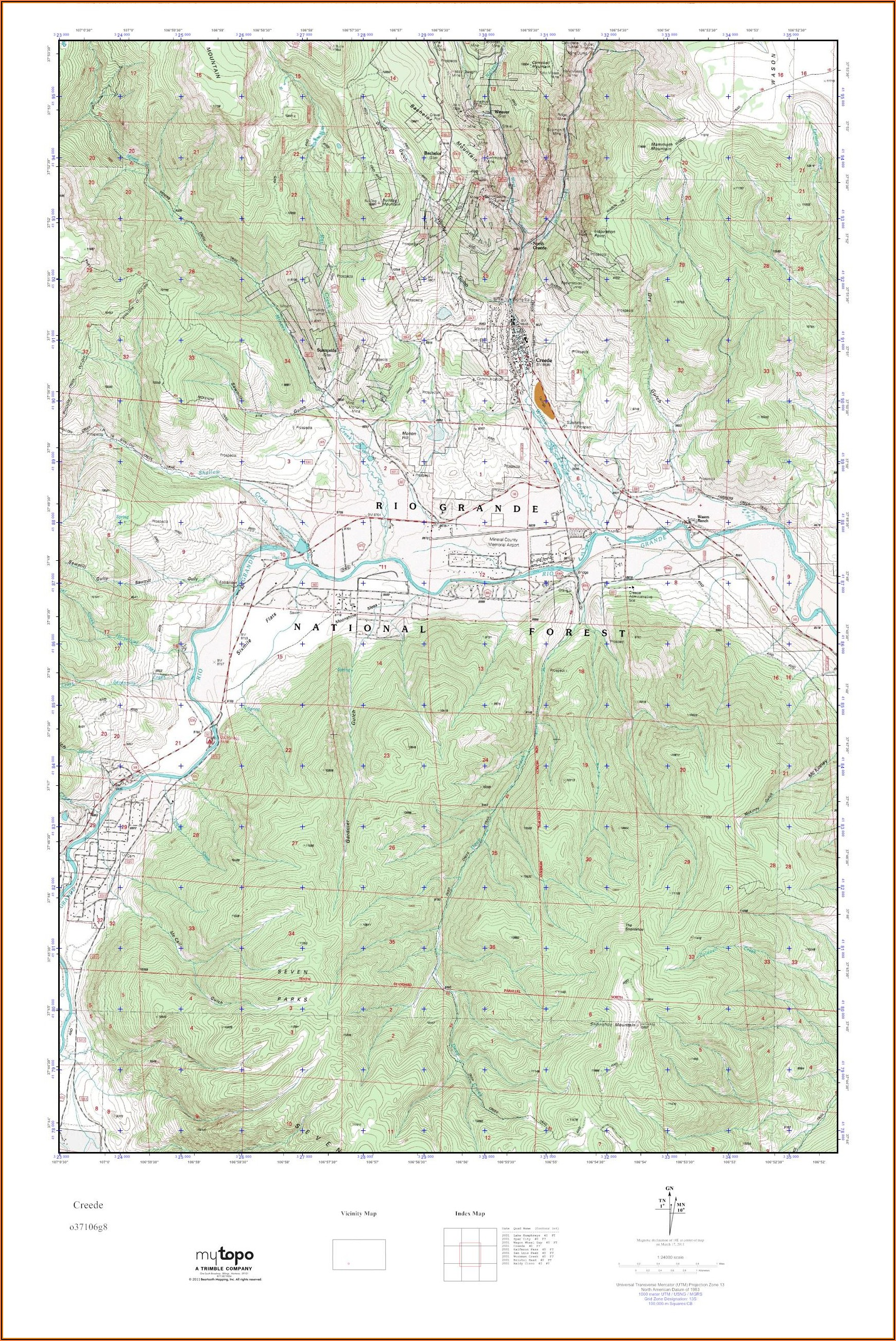 Topo Map Of Creede Colorado