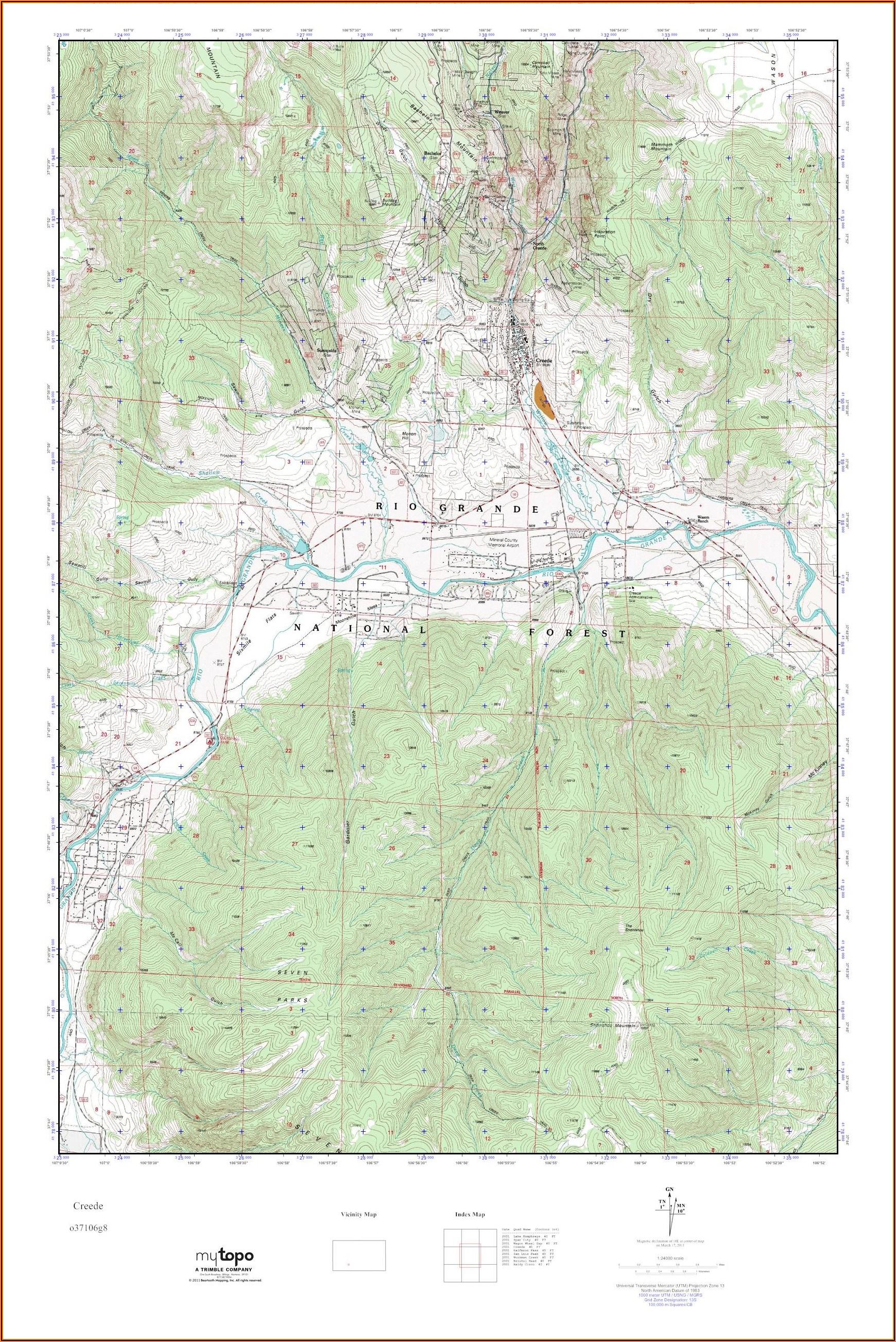 Topo Map Of Creede Colorado