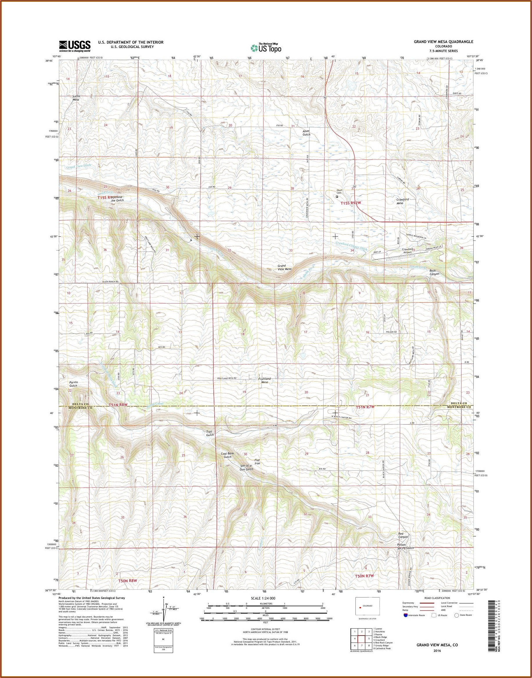 Topo Map Of Grand Mesa Colorado