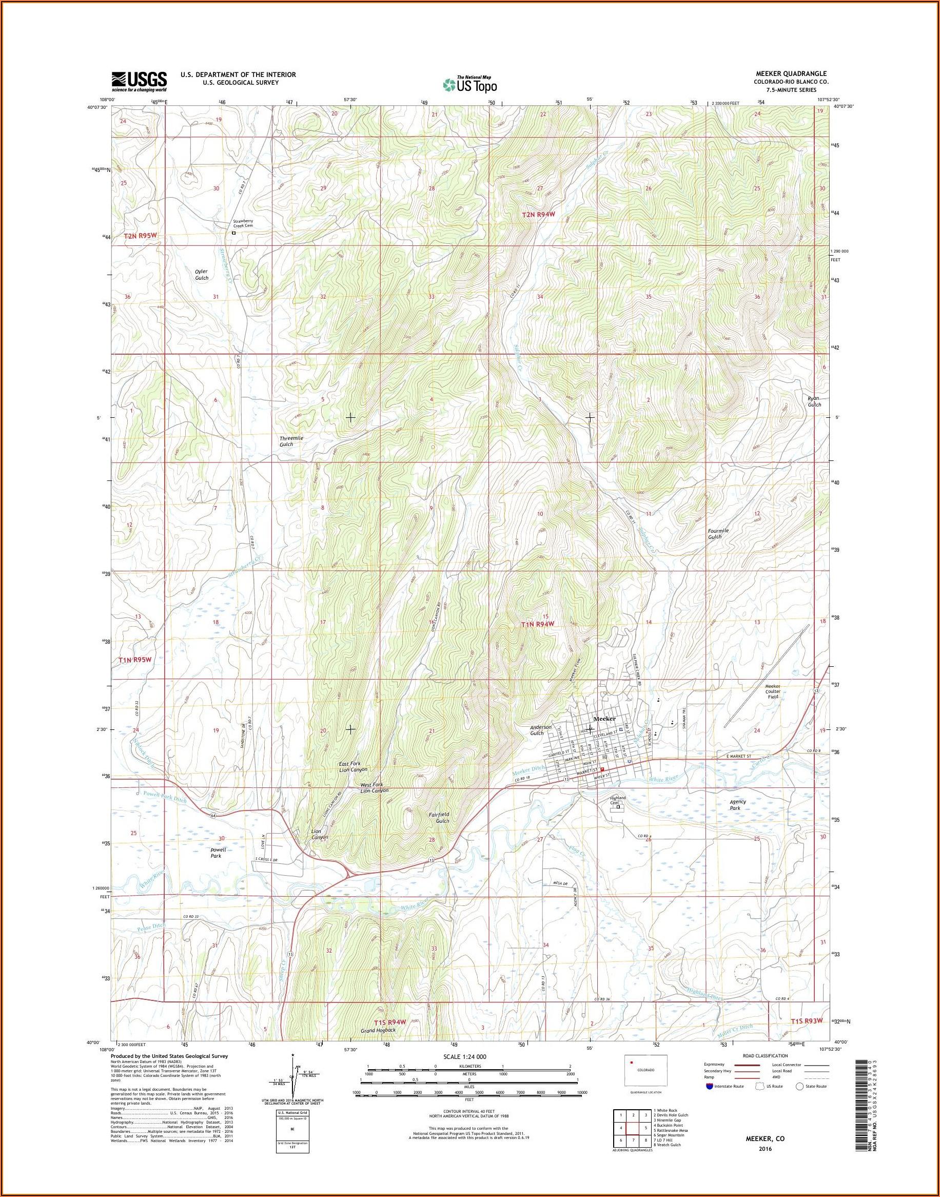 Topo Maps Meeker Colorado