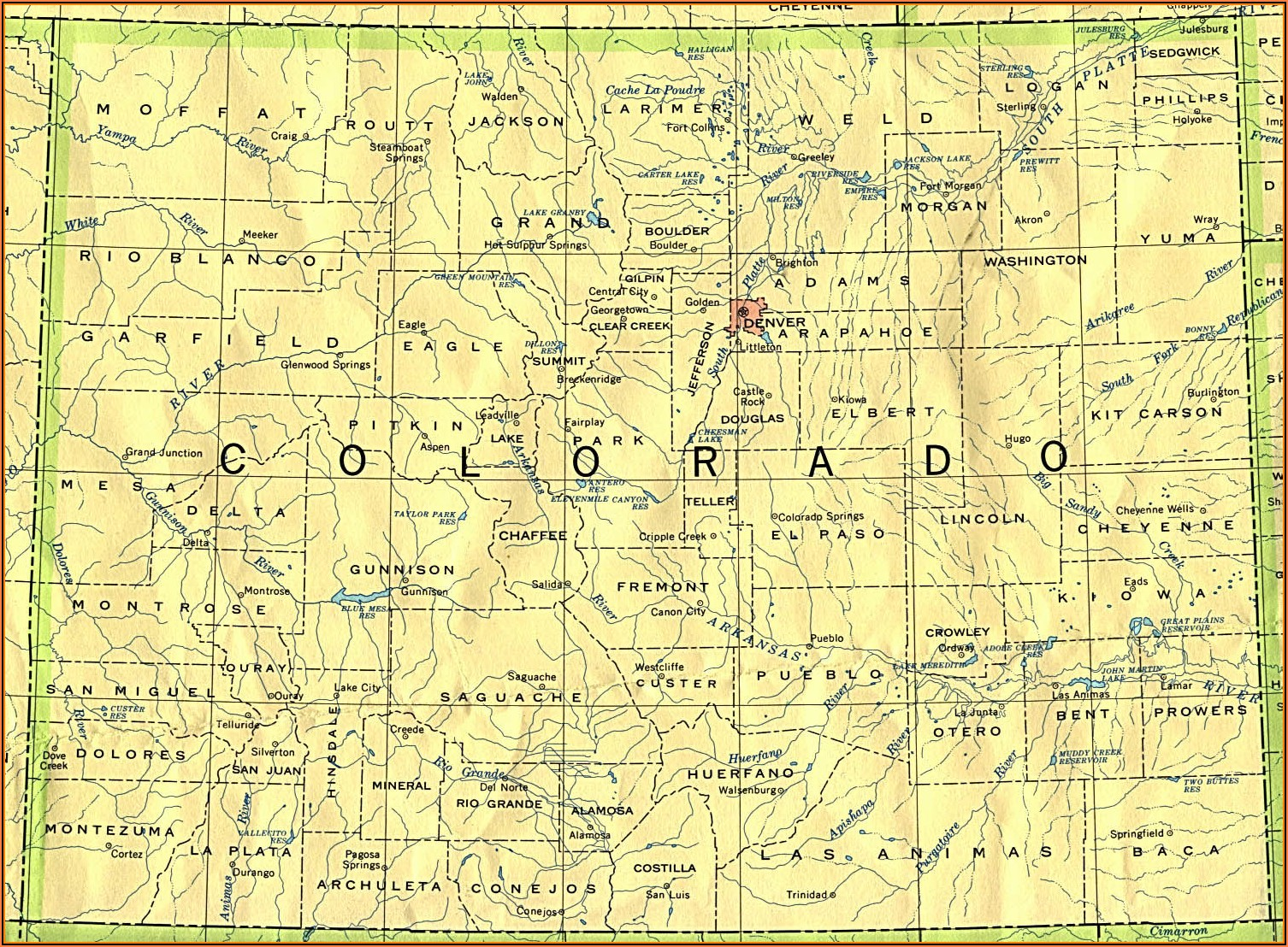 Topographic Map Of Colorado With Cities