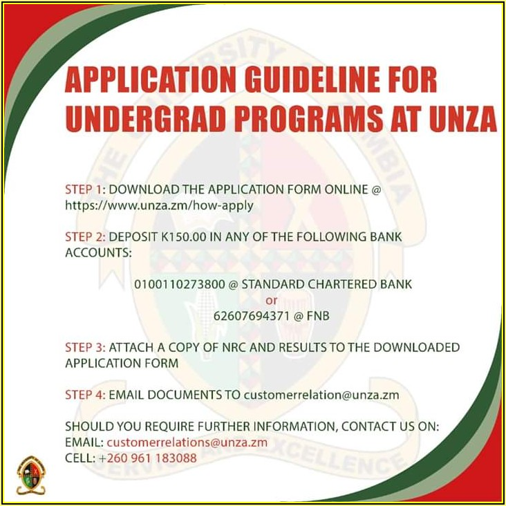 Unza Application Forms For 2019 Intake