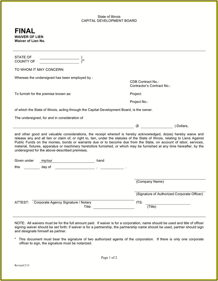 Waiver Of Lien Form Illinois