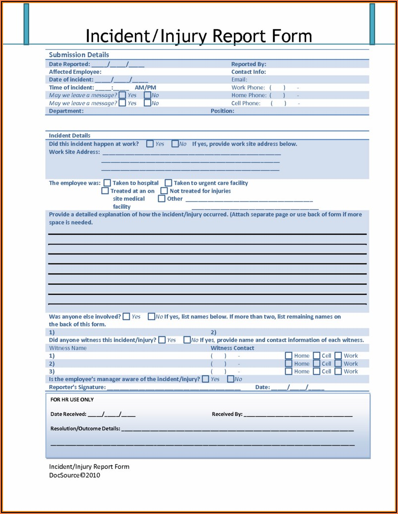 Workplace Harassment Incident Report Form