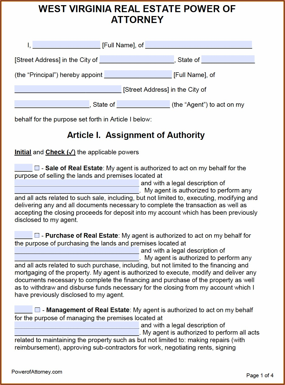 Wv Durable Power Of Attorney Form
