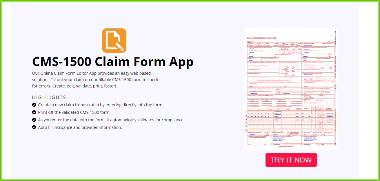 1500 Claim Form Fillable