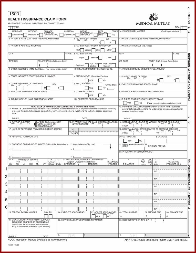 1500 Health Insurance Claim Form Reference Instruction Manual
