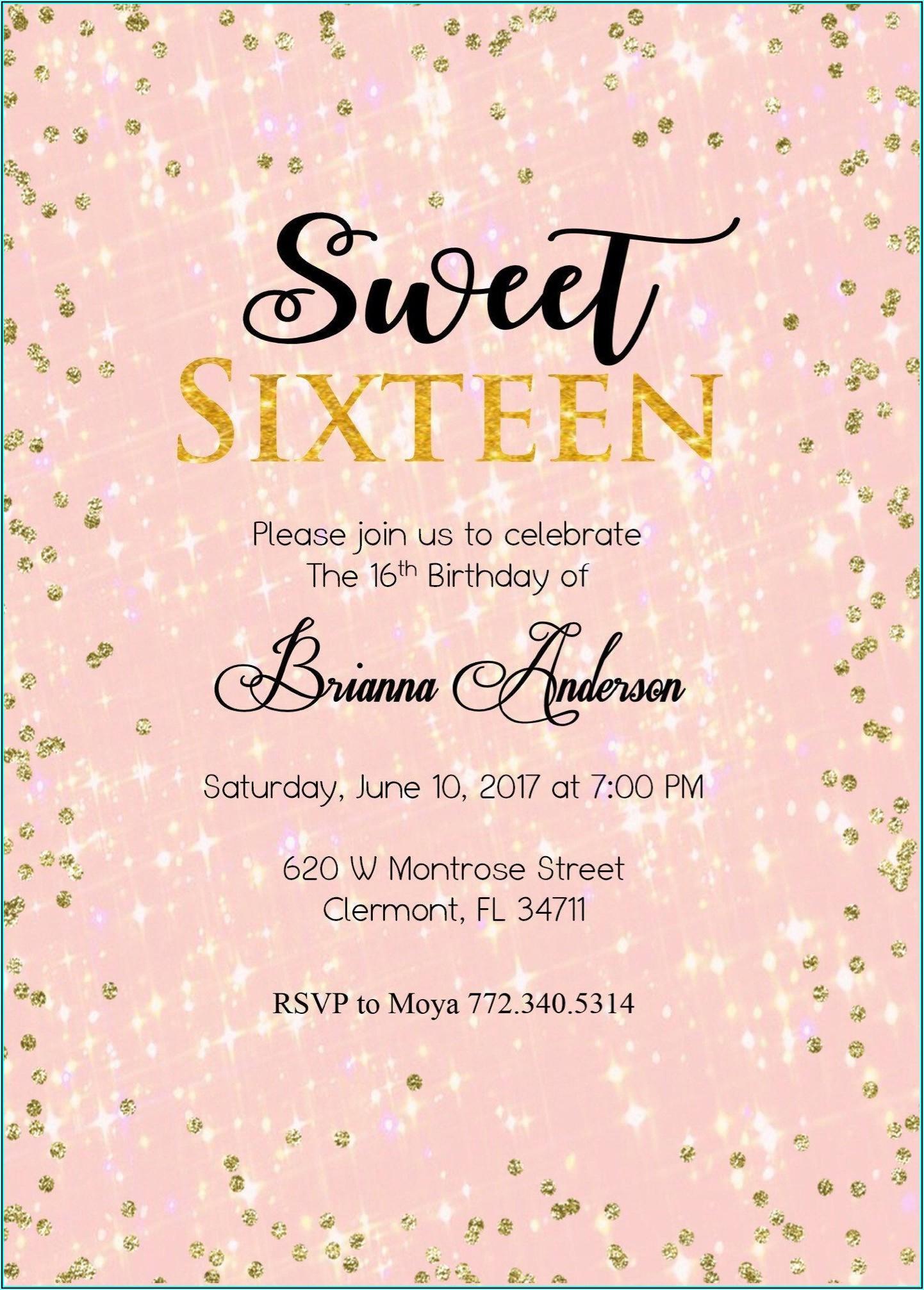 16th Birthday Party Invitations Templates Free