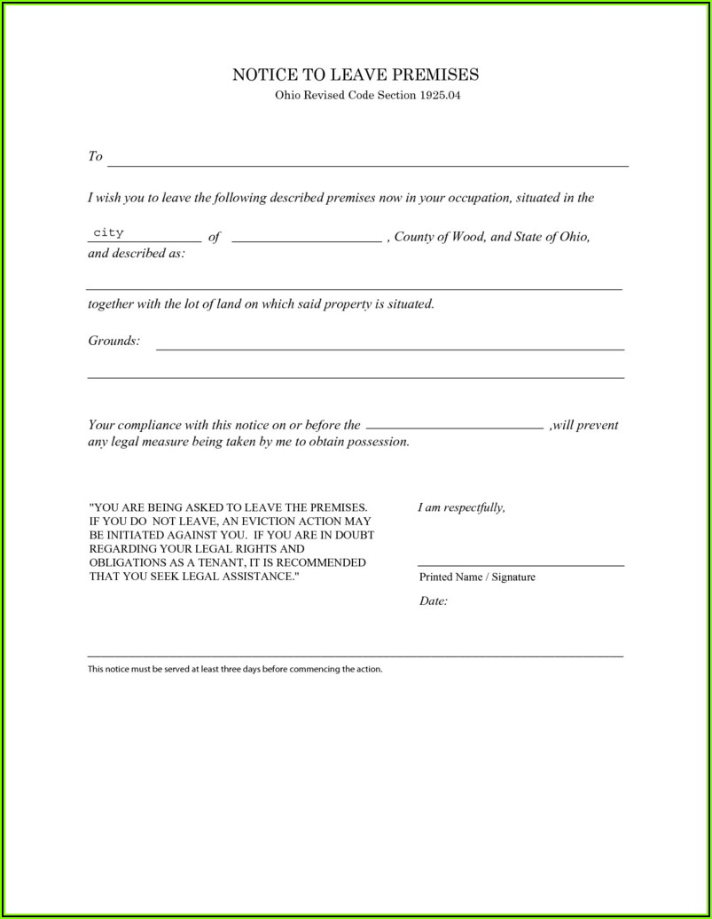 3 Day Eviction Notice Ohio Form Free