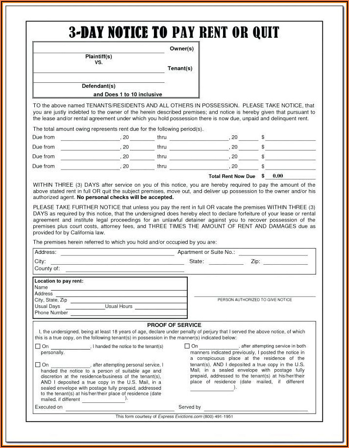 3 Day Notice To Pay Or Quit Template Pdf