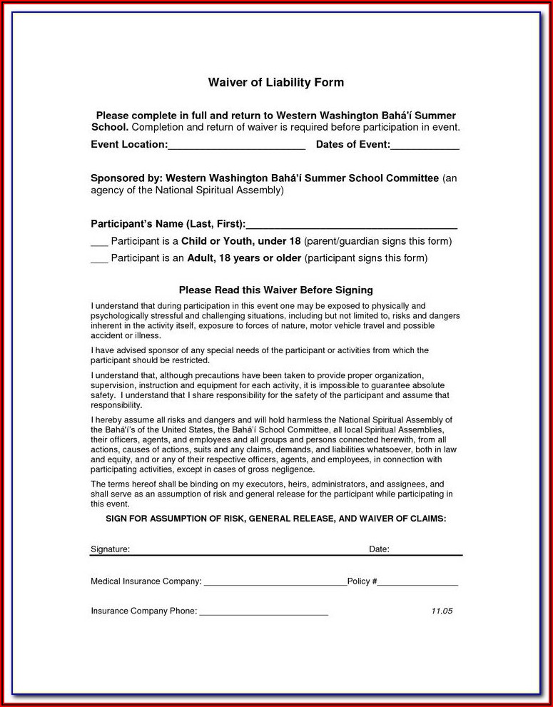 Accident Waiver And Release Of Liability Form Template