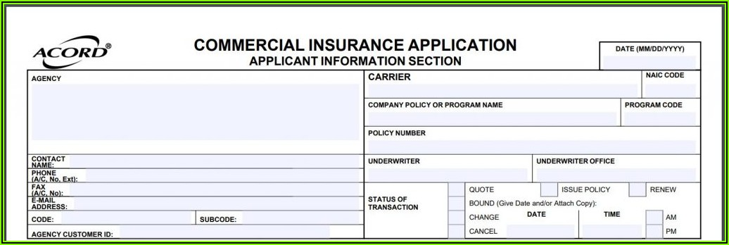 Acord 125 Application Fillable