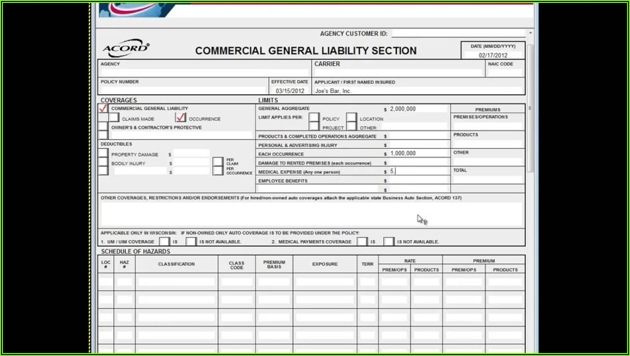 Acord Form 125 126 And 140 Fillable