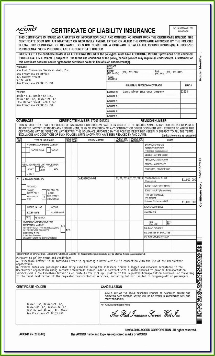 Acord Form 125 Fillable