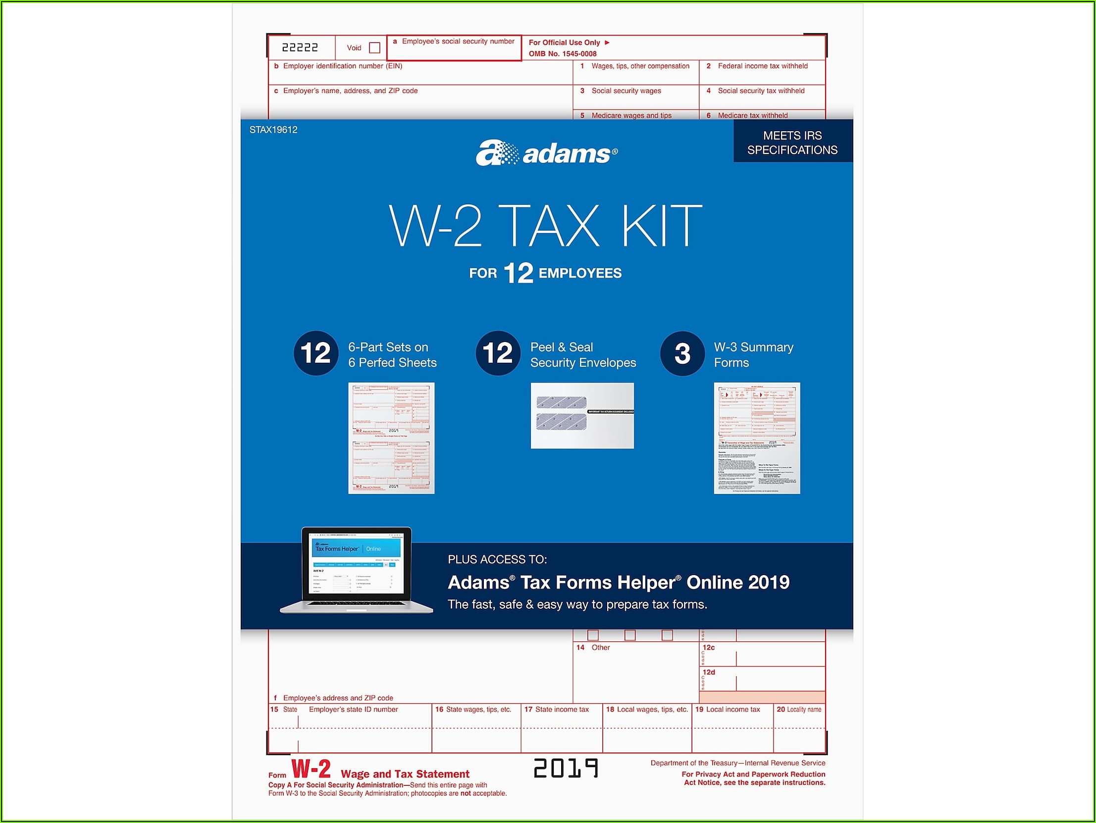 Adams Tax Forms Helper Software 2019