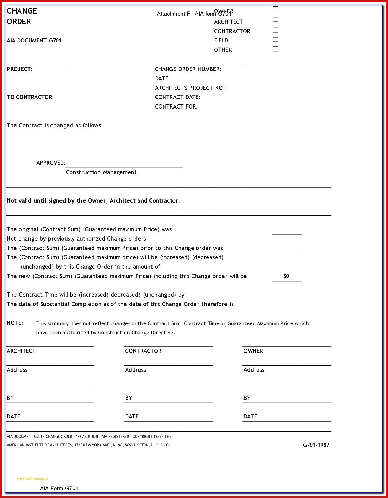 Aia Form G702 Fillable Pdf