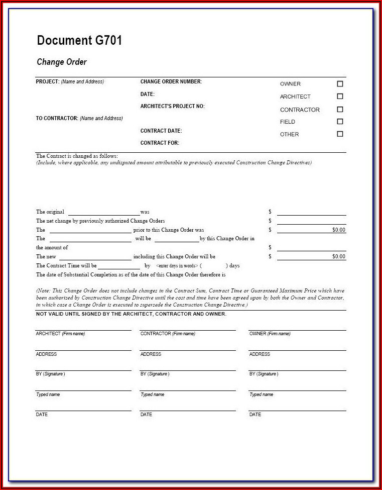 Aia Form G702 Is For Rfis