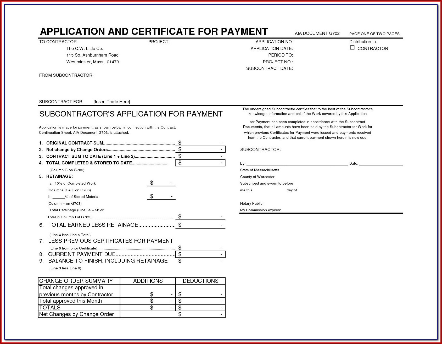 Aia G702 G703 Fillable Form Free