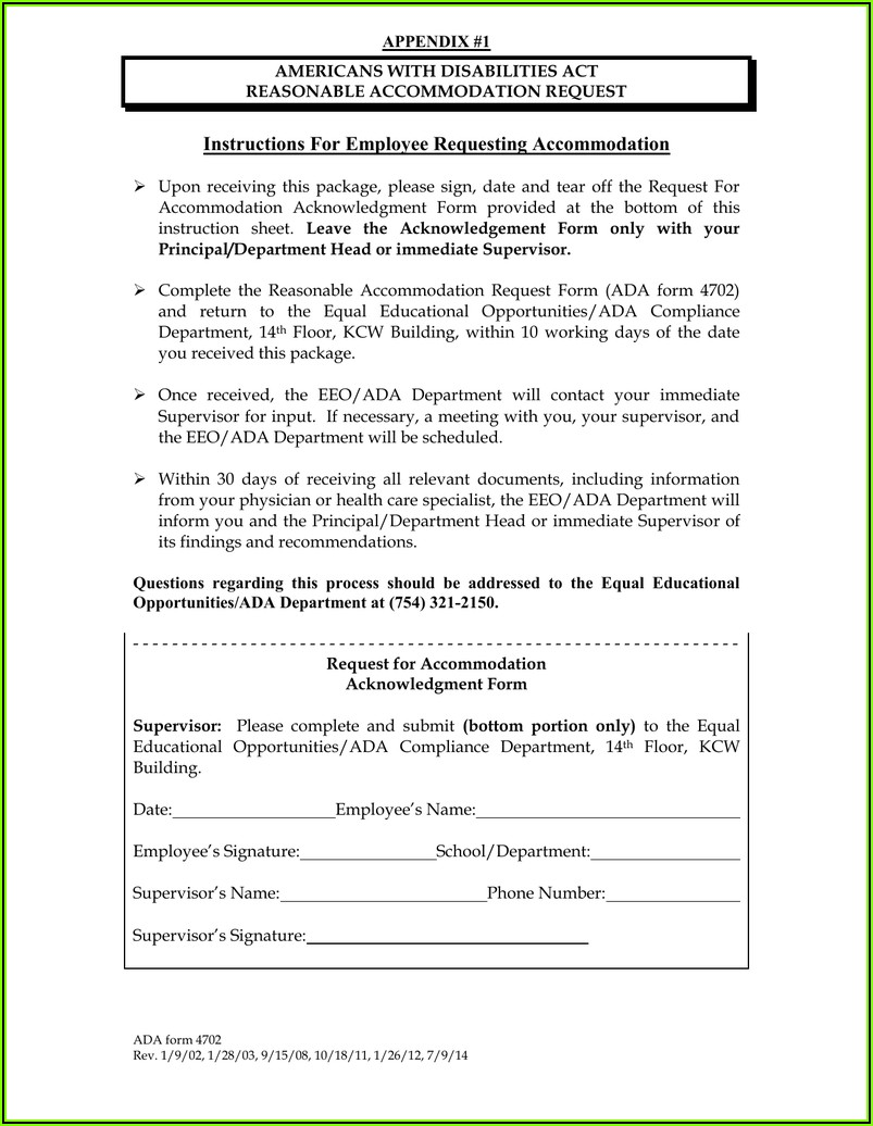 American Disabilities Act Accommodations Form