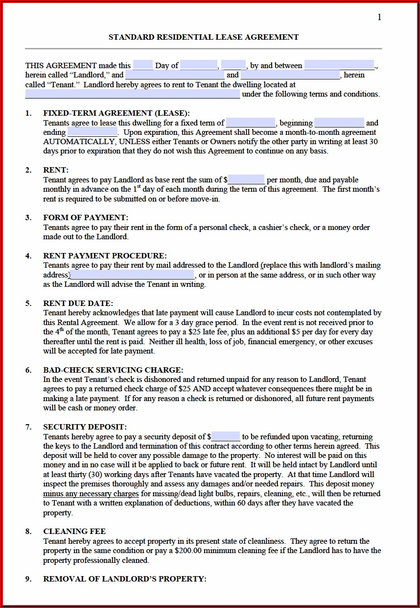 Annual Lease Agreement Form