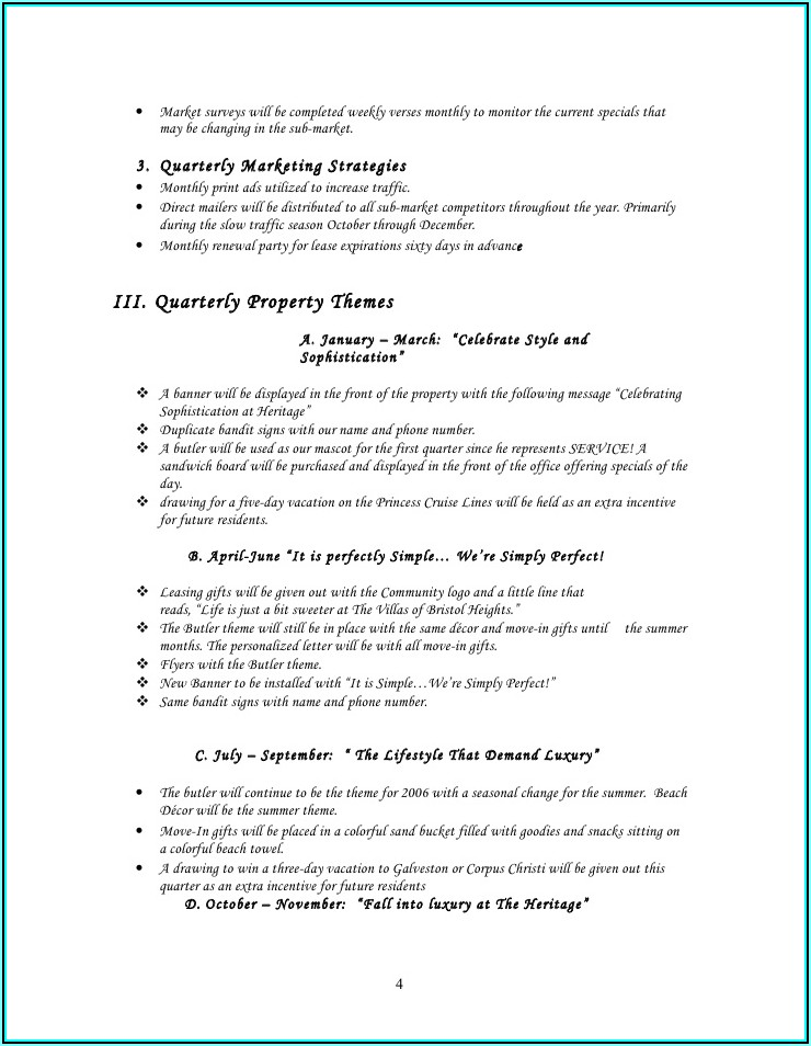 Apartment Marketing Plan Example