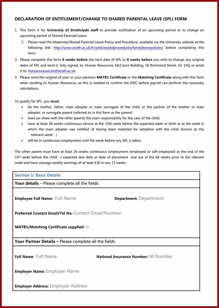 Appendix A Application Form For Maternity Leave Entitlements