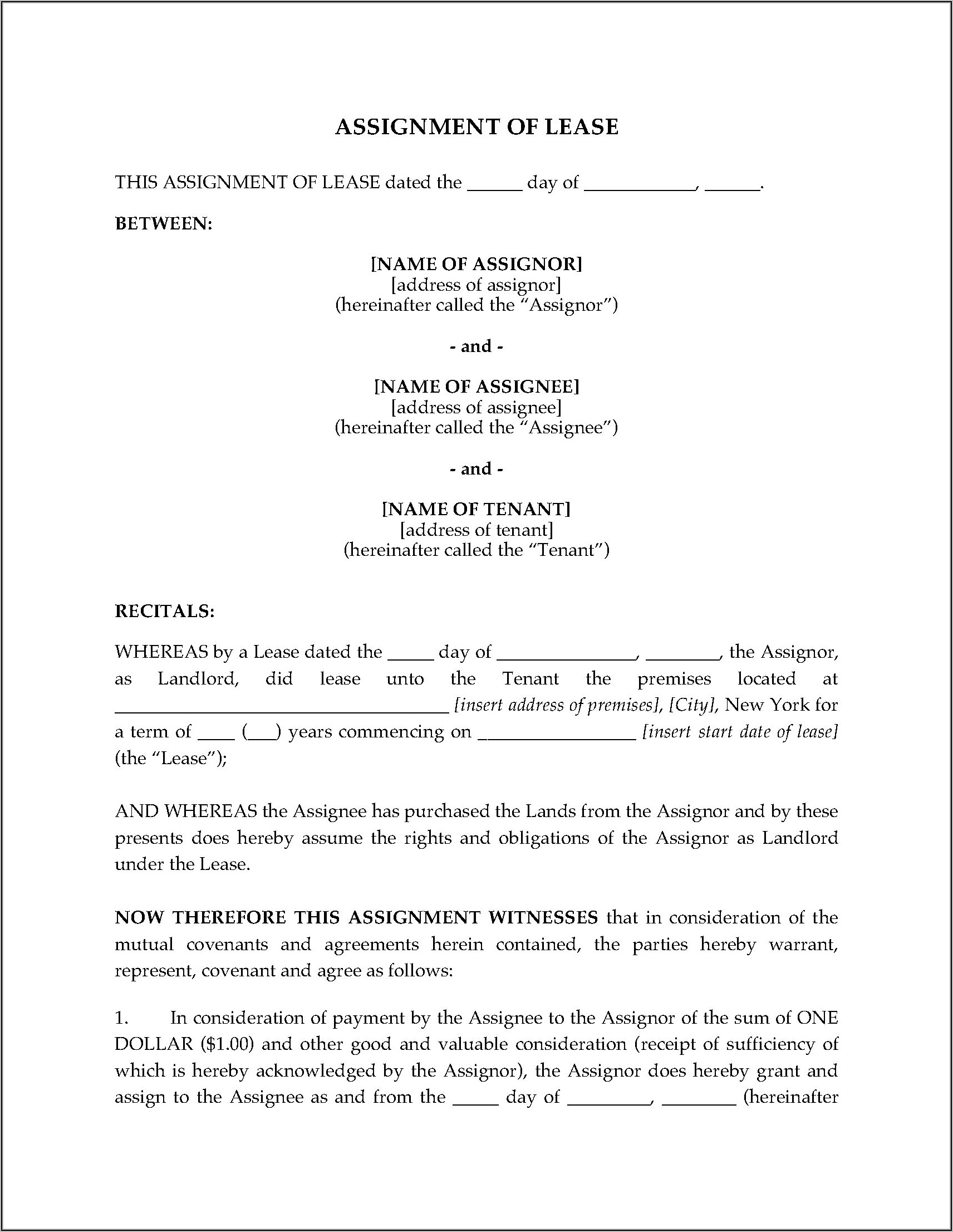 Assignment Of Lease Form New York